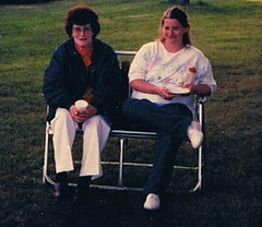 Mom and Gaelyne at Dads 1989