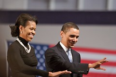 Michelle and Barack Obama (StarrGazr) Tags: election unitedstates senator president michelle newhampshire nh government 2008 obama primary elect nashua barackobama barack nhprimary election08 nhelection08 michelleobama 080108 linternauteactualit