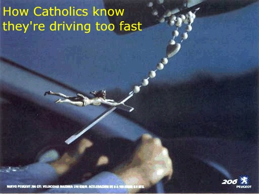 Catholic driving too fast