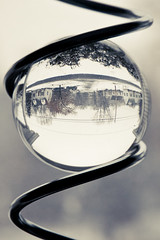 snowing (hlkljgk) Tags: door window glass metal yard spiral front neighborhood sphere round hlkljgk