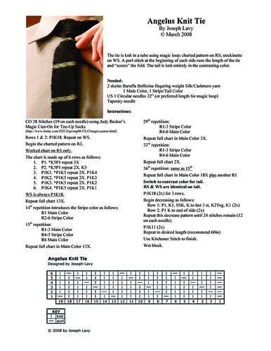 Angelus Knit Tie Pattern