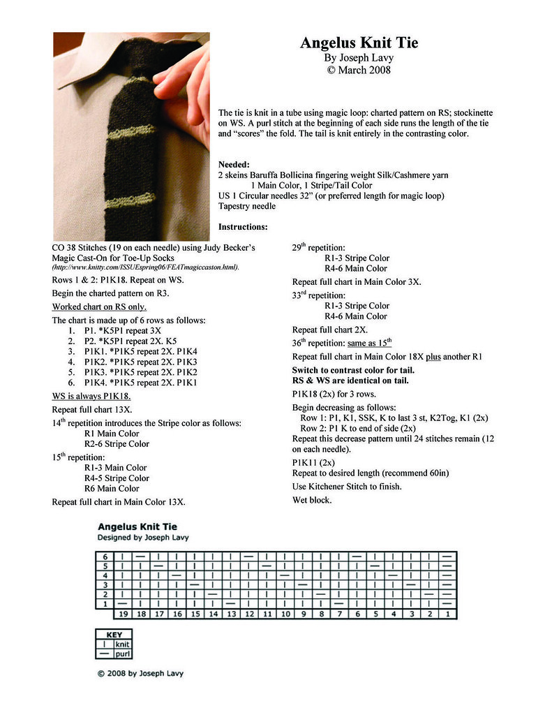 Ravelry: Angelus Knit Tie pattern by Joseph Lavy