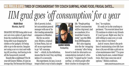 HT Delhi 130408 Gaurav Mishra Off Consumption