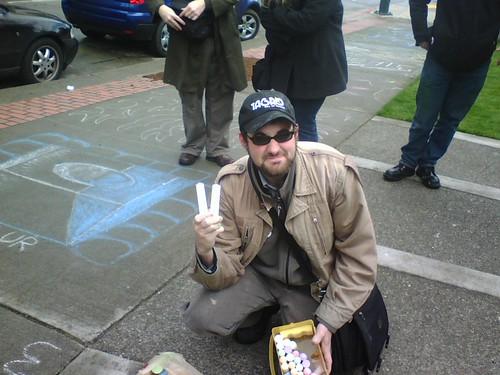 Frost Park Sidewalk Chark Sketch Off-Challenge 4/18/2008