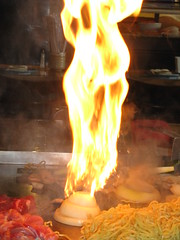 Fire volcano at Fujis Grill and Sushi