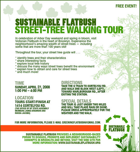 Flyer for Sustainable Flatbush Street Tree Walking Tour