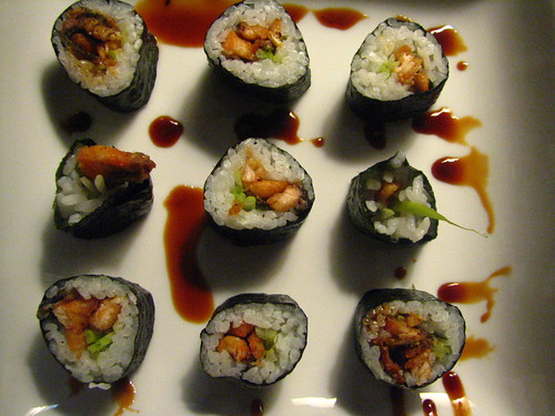 Salmon Skin Roll with Cucumber and Sweet Sauce