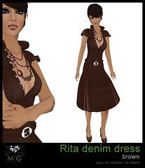 [MG fashion] Rita denim dress (brown)