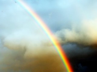 Somewhere over the rainbow...skies are blue...