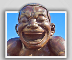 Laughing yoga (wessexman...(Mike)) Tags: laughingyoga sculpture vancouver photoshop