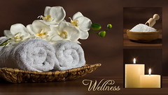 Wellness. (Mia Graphya) Tags: studio fotostudio fotografie photography miagraphya collage wellness ausruhen entspannen erholen kerze orchidee komposition handtuch salz sauna spa