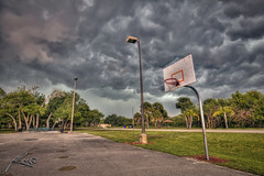 Storm Over Palm Beach Gardens (Captain Kimo) Tags: storm digital photoshop outside florida highdynamicrange basketballcourt hdri palmbeachgardens photomatix hdrphotography hdrphotos topazadjust