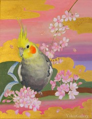 Cherry Blossoms (YokosGallery) Tags: flowers portrait pets art birds pen painting gold acrylic originalpainting parrot canvas cherryblossoms cockatiel etsy oriental japanesepaper lightpink yokosgallery