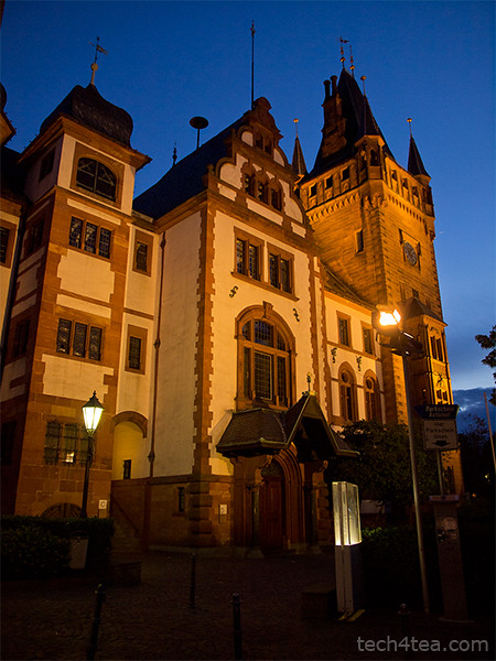 Weinheim Rathaus (Town Hall) in twilight. Taken with an Olympus E5 DSLR.