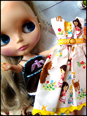 Blythe & New Dress (Hailey Kitten) Tags: yellow japan fairytale woodland japanese belt doll dress handmade brina sd fabric kawaii material blythe dottie dolldress japanesefabric handmadedress dollclothing privateswap stardancer forestgirl blythedress kawaiimaterial forestgirls