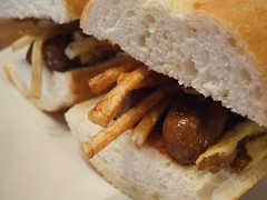 Merguez Frites (literarymom) Tags: food french sausage frenchfries sandwich delicious fries baguette lamb moroccan merguez harissa merguezfrites