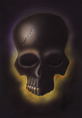 Airbrush - Skull (Marius Mellebye / 276ccm) Tags: shadow sculpture color art yellow norway skull lights paint drawing teeth drawings brush ixus gothamist custom marius airbrush ixus500 2007 iwata ryk custompaint mariusmellebye holbein mellebye skulladay 276ccm