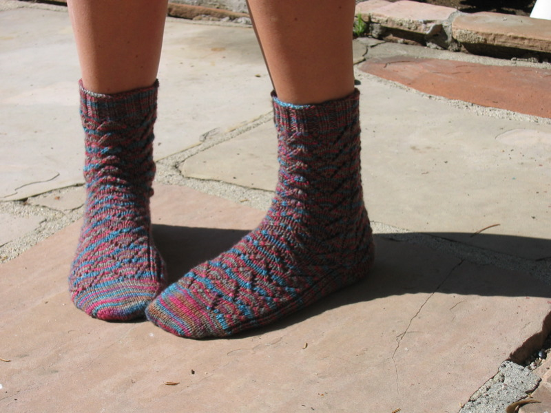 Keep On Knitting In The Free World Heather Chevron Socks