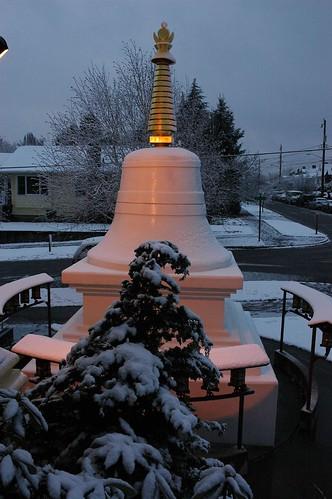 Parinirvana Stupa, in the snow, Greenwood, Seattle, Washington, USA by Wonderlane