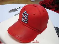 Michael and Jessica's Grooms Cake - Cardinals Hat (mandotts) Tags: redhat redvelvetcake homeplate stlouiscardinals airbrushed groomscake blueribbonwinner sugarpaste sculptedcake