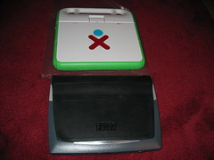 OLPC XO next to a Psion Netbook 1