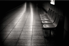 untitled 9 (TommyOshima) Tags: leica blackandwhite monochrome bench subway 50mm tokyo chair metro platform f10 konica noctilux delta100 ilford rf hexar