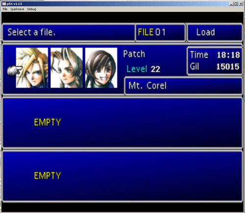 Final Fantasy VII on my laptop