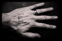 A Reminder (Matt Cope) Tags: uk blackandwhite bw white man black wales writing nikon remember hand cardiff monotone memory gb grayscale reminder remind takephotos bibble d80 writingonhand hairymatt takemorephotos mattcope matthewcope hairyhippy