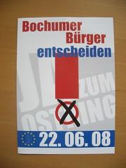 Wahlunterlage zum Bochumer Bürgerentscheid