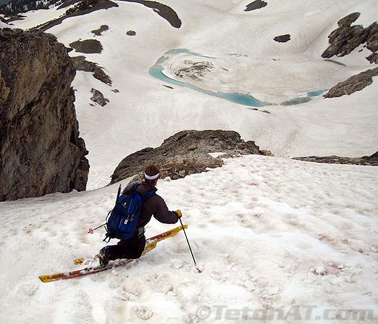 Chris skis above Timberline Lake