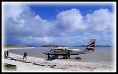 Boarding G-BVVK at Barra (prajpix) Tags: sky beach clouds airplane island scotland airport aircraft twin otter ba barra westernisles boarding airfield loganair outerhebrides gbvvk
