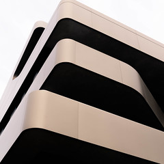 balcony abstract#3 (morbs06) Tags: düsseldorf fom jürgenmayerh abstract architecture balcony balustrade black building cantilever city cladding colour curves diagonal facade geometry light lines metal repetition shadow soffit square stripes texture white