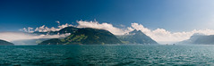 Lake Lucerne panorama (biologo) Tags: panorama lake mountains alps clouds schweiz switzerland boat suisse svizzera vierwaldstttersee wetter circularpolarizer swissalps lakelucerne svizra gersau nidwalden lacdesquatrecantons kantonschwyz rotschuo cloudyandblue