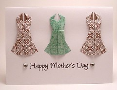 Origami Dress Mother's Day card (kittykatkards) Tags: brown flower floral mom origami dress girly feminine teal mother sparkle rhinestone mothersday