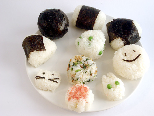 A plate of different kinds of onigiri
