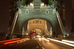 On London Tower Bridge (Lyndon (AussieDingo)) Tags: bridge bus london cars night towerbridge gettyimages londontowerbridge personalfavs2007