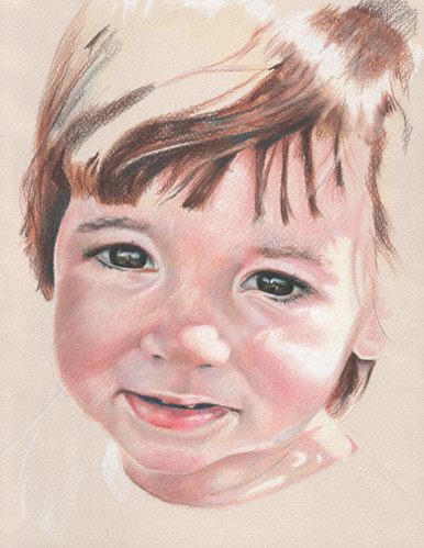 In progress scan of colored pencil drawing entitled Clara at 17 Months