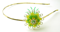 Yellow, Green and White Vintage Flowers Headband