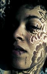 flower's shadows (e.v.r.i.e.l) Tags: light shadow portrait woman sun selfportrait flower window motif fleur face pattern autoportrait pentax lace lumire femme ombre curtains dentelle visage rideaux k10d
