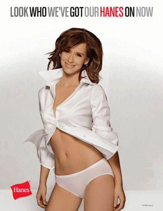 Jennifer Love Hewitt dress shirt panties Hanes underwear ads Lingerie