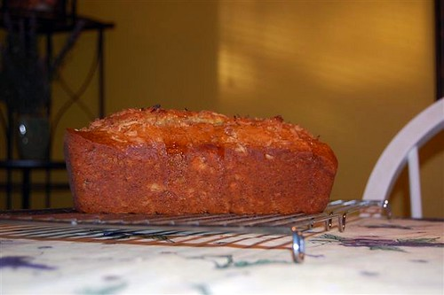 vegan coconut-rum banana bread, with lime glaze