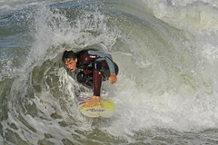 2 Foot Barrel (ScottS101) Tags: boy beach youth surf waves pacific action surfer huntington extreme tube barrel young wave skills tricks teen covered northside extremesports adrenaline thrills hb wetsuit allrightsreserved grom stopaction shorebreak tuberide barreled 4122008 copyrightscottsansenbach2008
