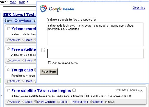 Google Reader: Share with Note