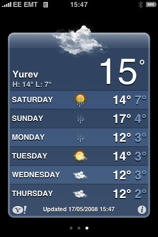Yahoo weather on iPhone: Tartu is still called Yuryev?!