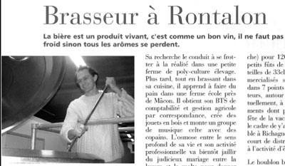 Brasseur à Rontalon, Article de l'Aqueduc été 2005