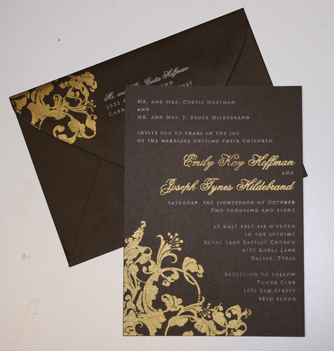 Wedding Invitations - Emily and Joseph, Golden Flowers and brown Wedding Invitations, wedding cakes, flowers, invitation, photos, gowns, dresses