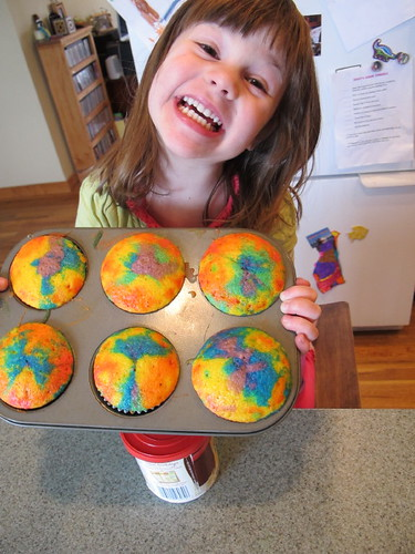 She was so proud of her rainbow cupcakes
