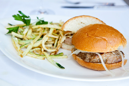 Tuna burger with zucchini fries