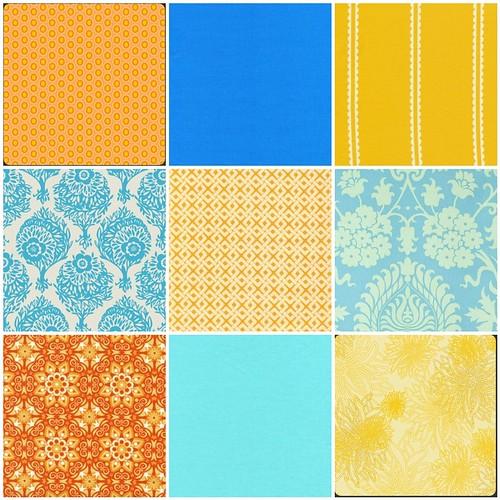 Tangerine and Aqua Inspiration Fabrics 1