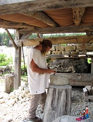 Stone Masons Carving with Chisels; Ozark Medieval Fortress